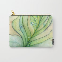 Green Watercolor Peacock Feather and Bubbles Carry-All Pouch