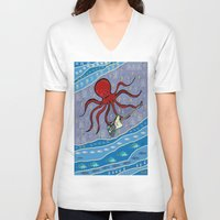 bass V-neck T-shirts featuring squid bass by Huiskat