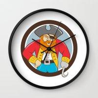 captain hook Wall Clocks featuring Captain Hook Pirate Circle Cartoon by patrimonio