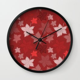 Maple Leaves - Bordeaux Wall Clock
