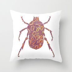 Painted Beetles Throw Pillow