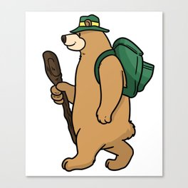 Backpacker Bear Canvas Print