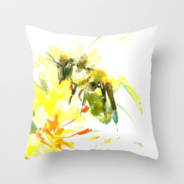 Honey Bee and Yellow Abstrac floral decor Throw Pillow