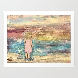 Beach Baby Girl Art Print