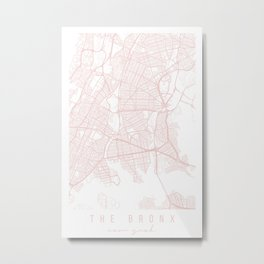 The Bronx New York Light Pink Minimal Street Map Metal Print