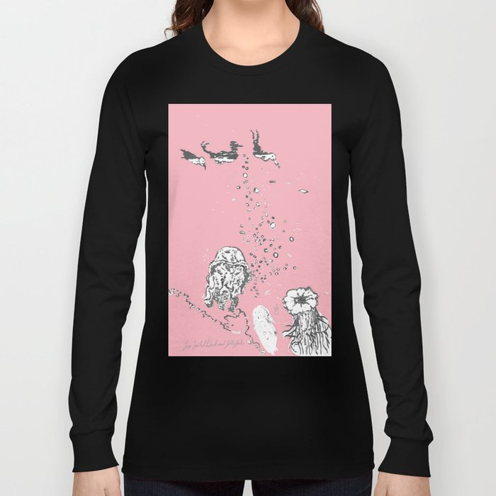 Two Tailed Duck and Jellyfish Baby Pink Deep Long Sleeve T-shirt