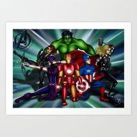 super heroes Art Prints featuring Heroes by Callie Clara