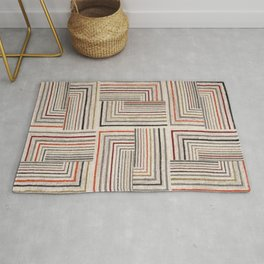 Square, colored lines, smear, geometric shapes, geometry Rug