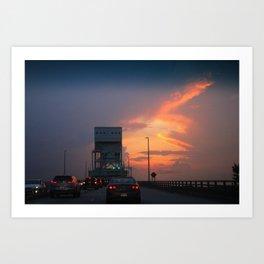 Cape Fear Bridge At Sunset Art Print