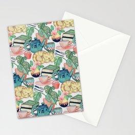 Lazy Afternoon - a chalk pastel illustration pattern Stationery Cards