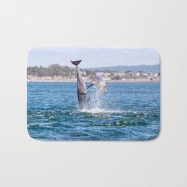 Double breach of bottlenose dolphin Bath Mat