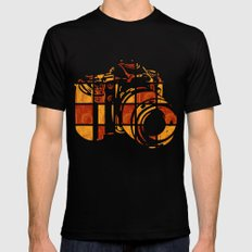 Camera Lines Black Mens Fitted Tee LARGE
