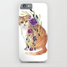 cat with flower boa iPhone 6s Slim Case