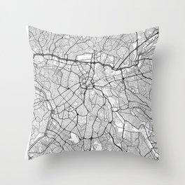 Sao Paulo Map White Throw Pillow
