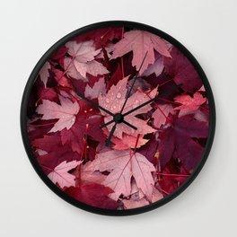 Dark Autumn Leaves Wall Clock