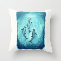 river song Throw Pillows featuring Song of the Vaquita  by Amber Marine