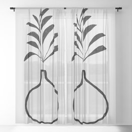 Minimalist Abstract Floral Plant With Vase Ink Drawing Sheer Curtain