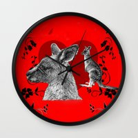 kangaroo Wall Clocks featuring Kangaroo by SwanniePhotoArt