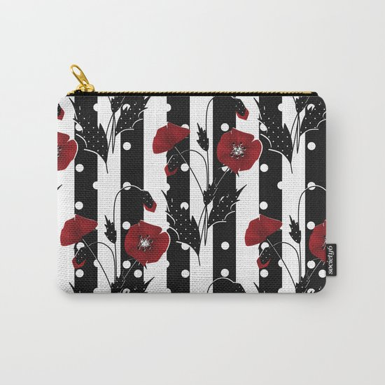 Retro. Red poppies on a black and white striped background. Carry-All Pouch