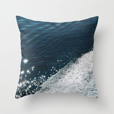 sea - midnight blue silk Throw Pillow