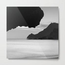 Half Moon Beach. Vela Tower Cliff. Bw Metal Print