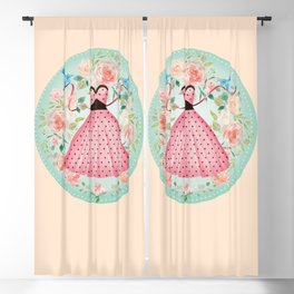 Roses, Bluebirds And The Perfect Polka Dot Party Dress Blackout Curtain