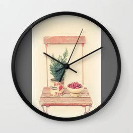 Cranberries and pine tree Wall Clock