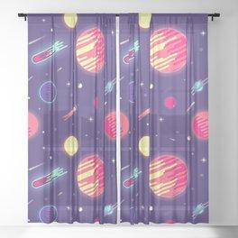 fantasy galaxy Sheer Curtain