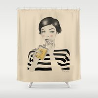 drink Shower Curtains featuring Drink Responsibly by Roberta Zeta