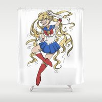 sailor moon Shower Curtains featuring Sailor Moon by Brizy Eckert