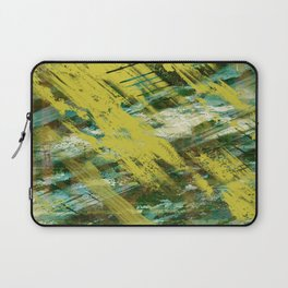 Hidden Meaning - Abstract, oil painting in yellow, green, blue, white and brown Laptop Sleeve