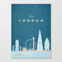 travel poster Canvas Prints featuring Vintage London Travel Poster by Travel Poster Co.