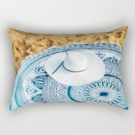 Travel Photography, White Beach Hat, Summer Vacation, Holiday Time, Beauty Accessories Rectangular Pillow
