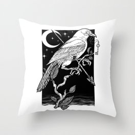 Night Crow Throw Pillow