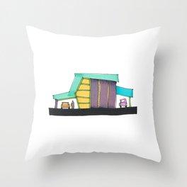 Retro Auto Shop Illustration 101 Throw Pillow