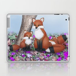 fox, cubs and tufted titmice Laptop & iPad Skin