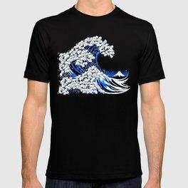 Kanagawa Cat Wave Black T-shirt