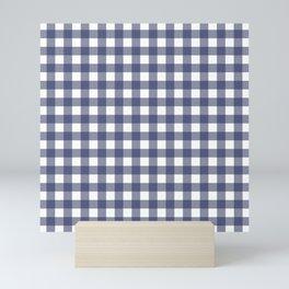 Navy blue gingham pattern Mini Art Print