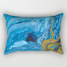 Blue and Gold Lava Rectangular Pillow