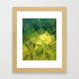Abstract of triangles polygon in green yellow lime colors Framed Art Print