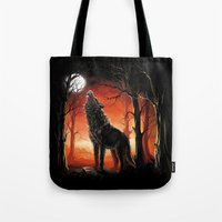 werewolf Tote Bags featuring Werewolf by Antracit
