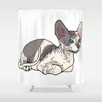 sphynx Shower Curtains featuring Sphynx by Mariel Castro