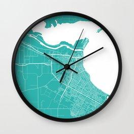 Corpus Christi map turquoise Wall Clock