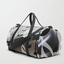 music notes white black clarinet Duffle Bag