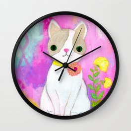 Cat Painting, Kitty Painting, White Cat, Girls Room Decor, Lavender, Pink, Yellow, Light Blue Wall Clock