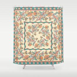 Square decorative design. Indian style. Kalamkari. Shower Curtain