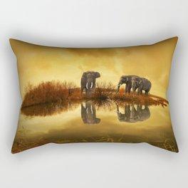 The Herd (Elephants) Rectangular Pillow