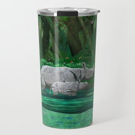 Rhinoceros mom and cub Travel Mug