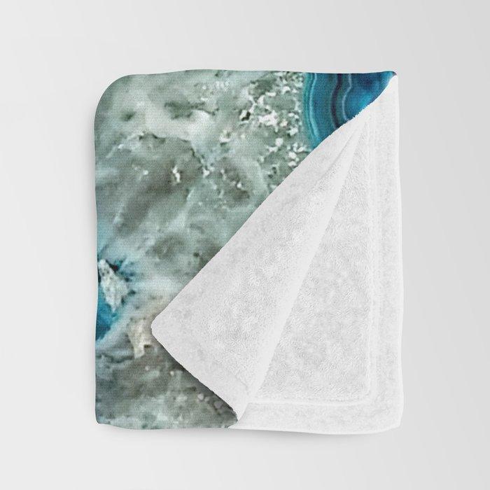 Aqua turquoise agate mineral gem stone - Beautiful Backdrop Throw Blanket