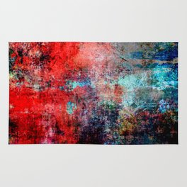 Modern Contemporary Red Abstract IntoDarkness Design Rug